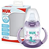 NUK First Choice 10215331 - Biberón para aprender a beber, con indicador de control de temperatura, sin BPA, antigoteo, 150 ml, color lila, 1 unidad, color morado 135 g