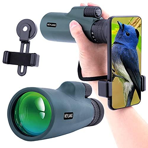 Telescopio Monocular 10-30x50 para Adultos, Telescopio Monocular Resistente al Agua HD con Teléfono Inteligente para Observación de Aves, Senderismo,Caza, Camping, Viajes,Verde