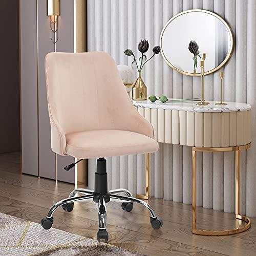 REFICCER Bürostuhl, Samt, verstellbarer Drehstuhl, weich, bequem, Chefsessel für Heimbüro, Schlafzimmer, Wohnzimmer, mittlere Rückenlehne, Beige