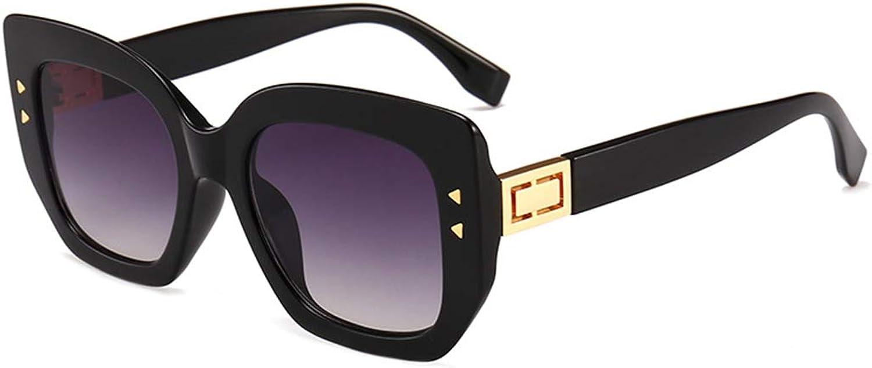 Fashion Full Frame Rivet Decoration Oversized Square Shape Sunglasses for Women and Men UV Predection. Retro (color   Black)