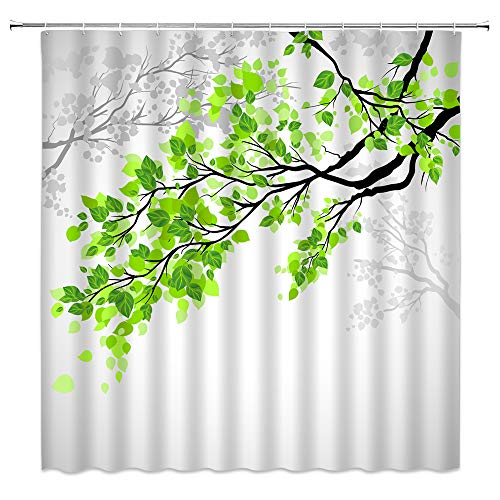 """Nature Shower Curtain Spring Tree Branch Green Leaves Art Printing Summer Peaceful Woodland Landscape Shadow Modern Creative Simple Fabric Bathroom Decor Set with Hooks(70"""" WX70 H)"""