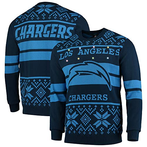 Forever Collectibles Majestic NFL Ugly Sweater Los Angeles Chargers Pullover Big Logo 2-Stripe-Light LED Beleuchtung (XL)