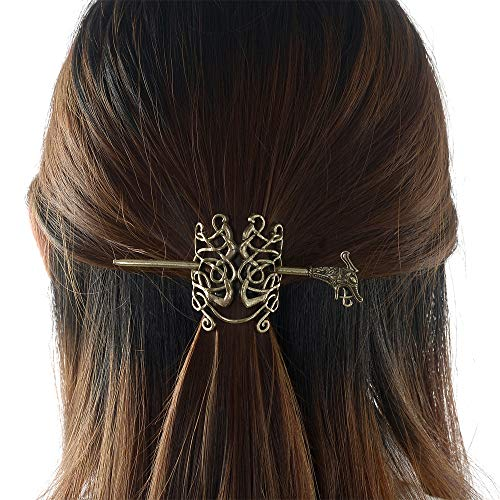 Large Celtic Knots Dragon Hairpins –Norse Viking Crown Hair Jewelry for Long Hair Braids Barrettes Vintage Viking Runes Women Girl Hairpin Hair Clips Stick Irish Slide Accessories