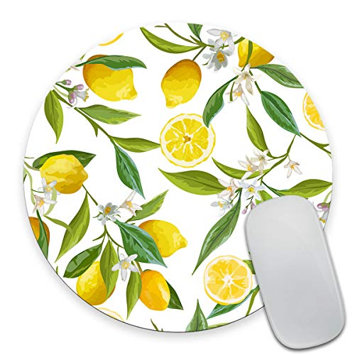 Smooffly Watercolor Lemon Painting Art Round Mouse Pad, Lemon Fruits with Flowers and Leaves Pattern Circular Mouse Pads