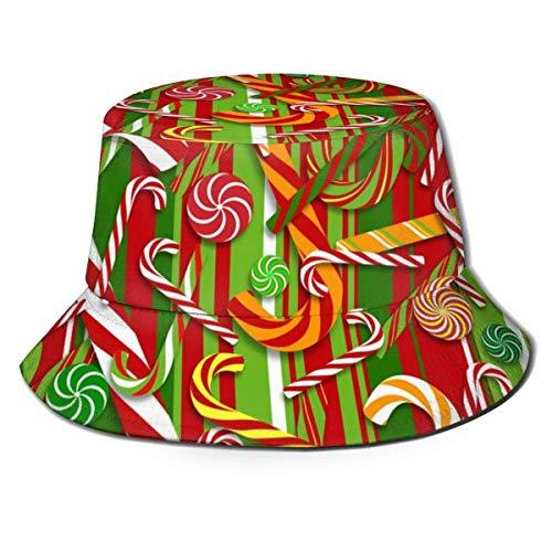 Sombrero de Cubo para Mujer y Hombre, Sombrero de Cubo de ala Ancha al Aire Libre, protección Solar, Gorra de Pescador, bastón de Caramelo Dulce