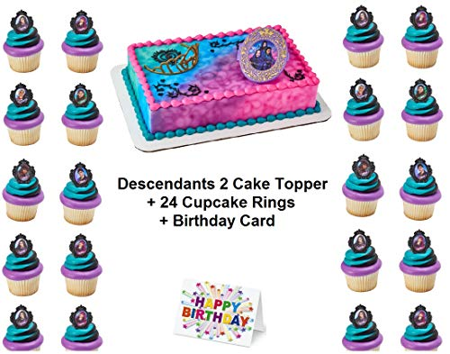 Descendants 2 Rebel Attitude Kuchendekoration Set Cupcake 24 Teile plus Geburtstagskarte