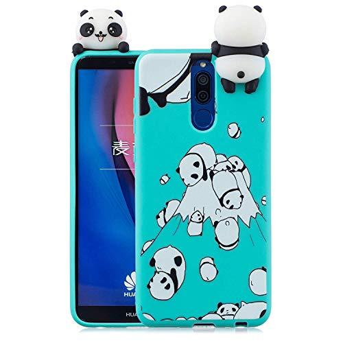 Wubao Compatible con Funda Huawei Mate 10 Lite, Carcasa 3D Animal Muñeca Color Caramelo Case Cover Ultrafino Mate Suave Flexible Silicona TPU Gel Protector Antigolpes - Panda