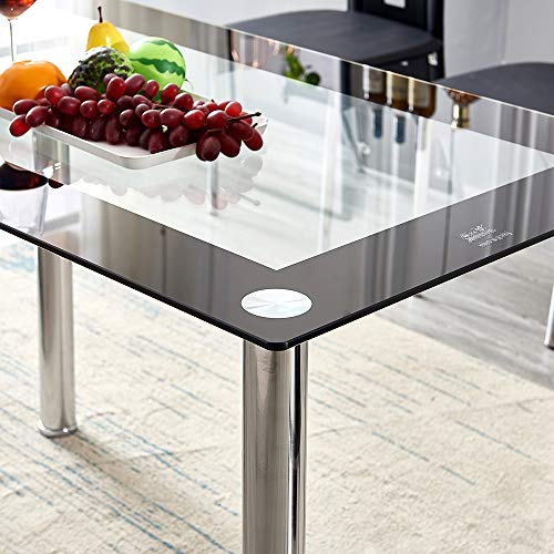 Volitation Glass Dining Table with Chrome Legs, Modern Rectangle Glass Table, Glass Dining Room Set