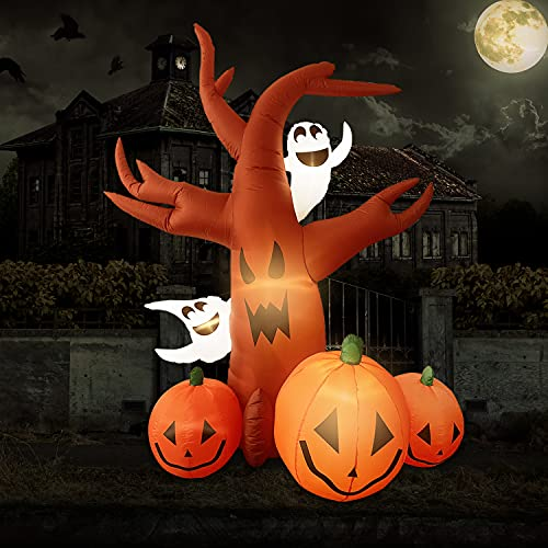Halloween Inflatables Halloween decorations – 7.5FT Inflatable Dead Tree with Ghost, Pumpkin decor LED Lights Halloween Decor Outdoor Holiday Decorations, Blow up Yard Decor, Halloween inflatable
