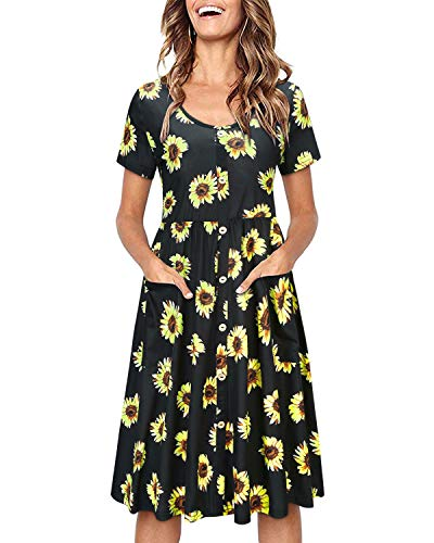 OUGES Women's Long Sleeve V Neck Button Down Midi Skater Dress with Pockets(Black Floral01,M)