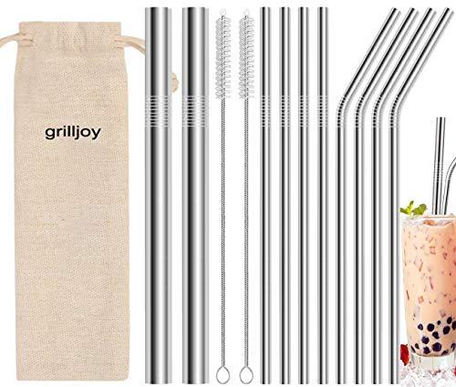 Grilljoy 13PC Pailles Réutilisables en Inox avec 2 Brosses de Nettoyage et Sac de Rangement, Pailles en Métal en Diamètre de 6mm - 12mm pour Milkshake Café Cocktails Smoothie Boissons Chaude