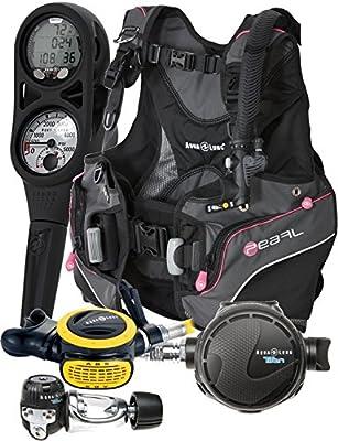 Aqualung Womens Pearl BCD Titan Regulator Dive Computer Scuba Package (Medium, Black / Pink)
