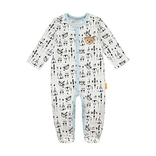 Steiff Baby-Jungen mit süßer Teddybärapplikation Pyjamaset, Cloud Dancer, 080