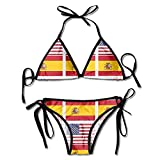 AmyNovelty Mujer Bañador,Bikini con Estampado De La Bandera Americana Y De La Bandera De España Conjunto De Trajes De Baño Ajustables para Mujer Sexy De Moda