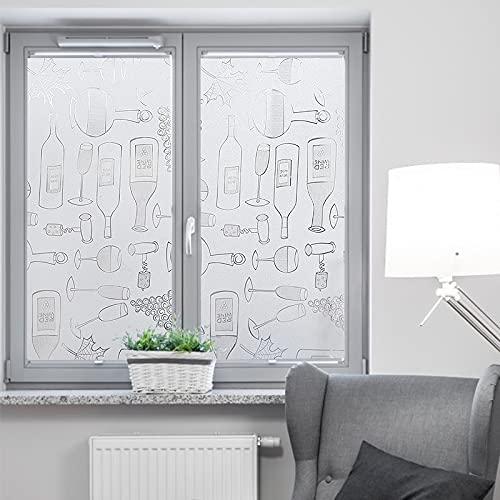 Pegatina de Vidrio Opaco Esmerilado de Copa de Vino, Aislamiento térmico y película para Ventanas de protección UV, Adecuada para el hogar y la Oficina O 30x100cm