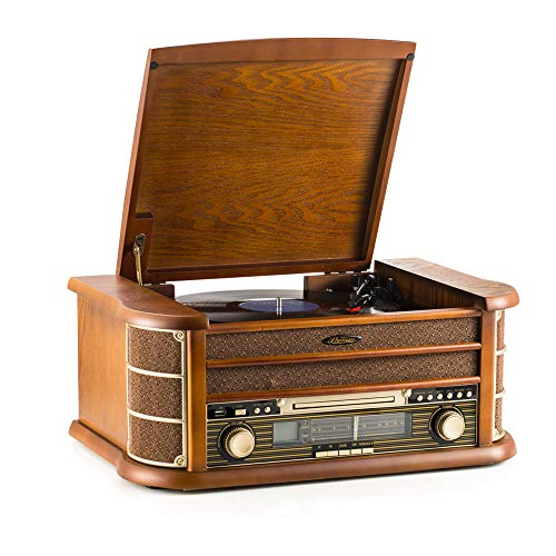 SHUMAN 7 IN 1 Holz Musikanlage,Plattenspieler , CD-Player ,MP3- Player, Kabellos,USBPort,FM Radio-Tuner, Kassettenspieler,Cinch-Ausgang ,Mit Fernbedienung (MC250BT)