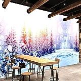 Msrahves Fotomurales decorativos Invierno árboles alces nieve 300X210CM pared dormitorio posters para pared papel pintado xxl fotomurales decorativos pared fotomurales pared 3d modernos Fotográfico