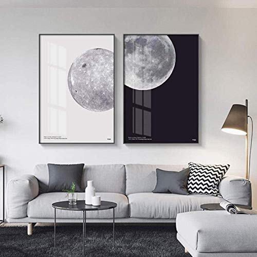 MXXC Pop artmoon Stampa su Tela Pittura Poster Immagini Soggiorno Camera da Letto corridoio Decorazioni per la casa2 Pezzi 50x70cm Senza Cornice