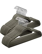 SONGMICS Fluwelen kleerhangers, 50 stuks, antislip, jashangers, 0,6 cm dik, ruimtebesparend, 360 graden draaibare haak, 45 cm breed, voor jassen, mantels, rokken, overhemden, broeken