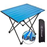 MSSOHKAN Camping Table Folding Portable Camp Side Table Aluminum Lightweight Carry Bag Beach Outdoor Hiking Picnics BBQ Cooking Dining Kitchen Blue Small
