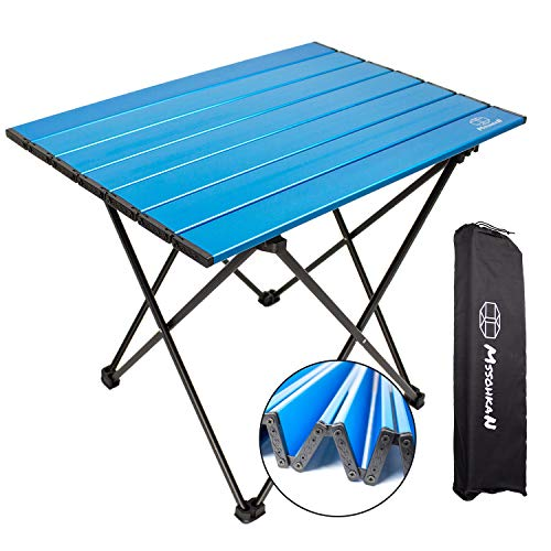 MSSOHKAN Camping Table Folding Portable Camp Side Table Aluminum Lightweight Carry Bag Beach Outdoor Hiking Picnics BBQ Cooking Dining Kitchen Blue...