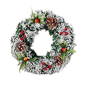 Yiyu Corona De Navidad Artificial - Corona De Navidad Realista Remolque Hermosa Puerta For Interiores Y Exteriores j (Color : 20cm)