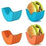 Burger Holder, Reusable Burger Fixed Box Silicone Hamburger Rack (Blue and Orange)
