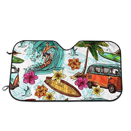 N / A Verano Car Parasol,Protector Solar Sombrilla Visera,Coche Cubierta,Universal Sombrilla Auto,Parasol Coche Delantero,Sombrilla Hawaiana para Parabrisas De Autos De Surf M