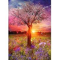 新しい5Dダイヤモンド塗装キット ラインストーン刺繍アート クラフトキャンバス クロスステッチ ホームウォールデコレーション 抽象的な美しさの木の夕日(30x40)CM