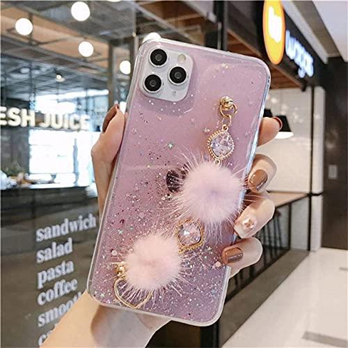 DEIOKL Pulsera de Bola de Pelo de Diamantes con Purpurina 3D Estuche Transparente para teléfono Suave para iPhone 11 Pro XS MAX XR X 7 Plus 8 6 para Samsung S8 S9 S10, Rosa, para iPhone X