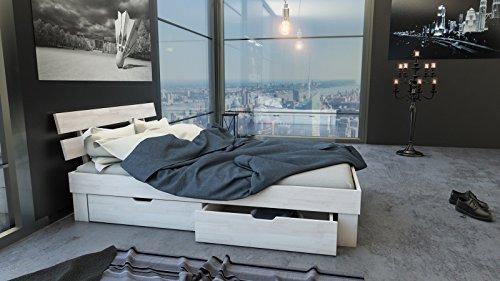 SAM® Massiv-Holzbett Julia mit Bettkästen in Buche weiß, 160 x 200 cm, Bett mit geteiltem Kopfteil, natürliche Maserung, massive widerstandsfähige Oberfläche in edlem Weißton - 4