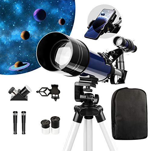 Telescope for Kids and Beginners,70mm Aperture Astronomy Telescopes with Cellphone Adapter Mount,Backpack and Adjustable Tripod, Portable Astronomical Refractor Telescope for Moon Viewing