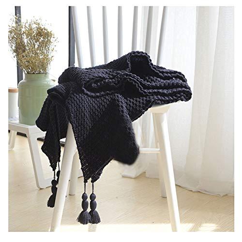 GuoCu Elegante Manta de Punto con Borla Súper Suave cálido Tejer Cobertura para Ver la Televisión en la Silleta, Sofá y Cama Navy 130 * 170cm