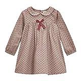 Vestido de lunares pequeños para bebé de 24 meses a 7 años, manga larga, cuello claudine, suave y cómodo, marca francesa, beige y burdeos