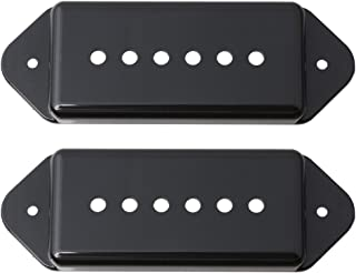 LYWS Set of 2Pcs Black P90 P-90 Dogear Dog Ear Bridge & Neck Pickup Cover 50mm 52mm For Gibson Dogear