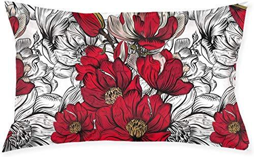 Just life Patrón de Flor roja Lumbar Pequeño Cojín Decorativo Cojín Cojín Cojín Serie Living Cojín Decorativo Cojín Diseño de Doble Cara 29.9'X 19.6'