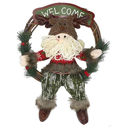 De Kroon van Kerstmis for Voordeur - 13.3x19.3 Inch Deur kransen Kerstboom Kerst Opknoping Decoratie (Sneeuwman de Kerstman) (Color : 04)
