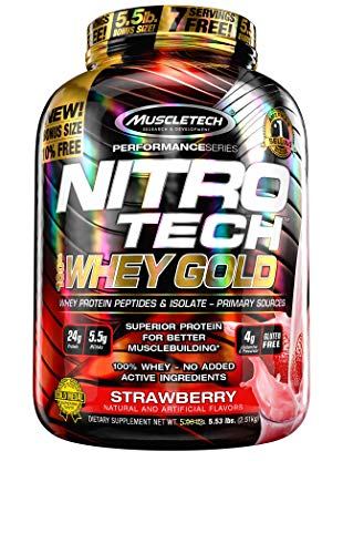 MuscleTech Nitro-Tech Whey Gold Protein Powder, Whey Isolate and Peptides, 24 Grams Protein, 5.5 Grams BCAAs, Easy to Mix, Tastes Great, Gluten-Free, Strawberry, 2.51 kg (77 Servings)
