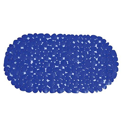 MSV 140880 Galets Tapis de Baignoire PVC Bleu Foncé 35 x 68 x 0,1 cm