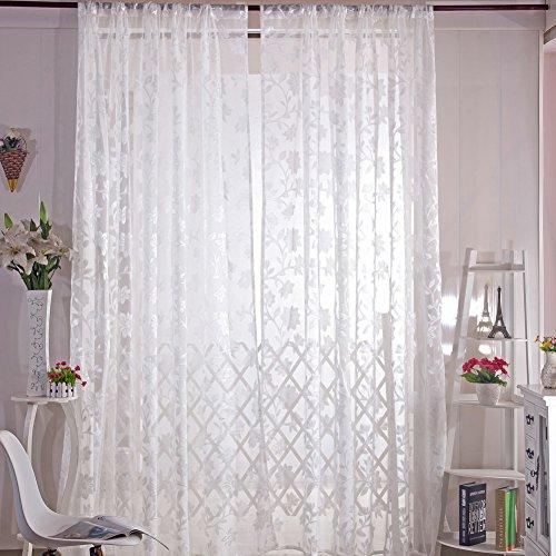 Gowind6 Romantische Bloemen Tulle Voile Gordijn Drape Panel Sheer Sjaal Valances Wit