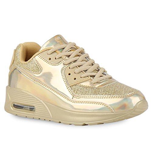 stiefelparadies Trendige Unisex Lauf Damen Herren Kinder Sport Glitzer Camouflage Sneaker Bunt Schnür Sport Schuhe 126776 Gold Glanz 37 Flandell