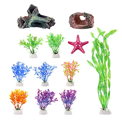 Mangsen 12 Pack Aquarium Decorations Set with Wood Cave, Tree Trunk Barrel Hideouts, Aquarium Plants Plastic and Starfish Resin Ornament Accessories