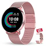 GOKOO Smartwatch for Women Mothes's Day Gift Smartwatches with Heart Rate Sleep Monitor Full Touch Screen Notification Reminder Activity Fitnees Tracker Compatible with IOS Android Watch for Women Men
