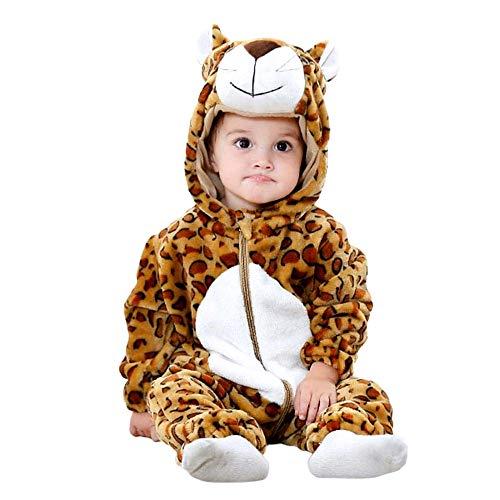 Luipaardkostuum - zachte pluche - fleece - jumpsuit - onesie - vermomming - carnaval - halloween - baby meisje - pasgeboren baby - 0/6 maanden - cadeau-idee voor kerstmis en verjaardag