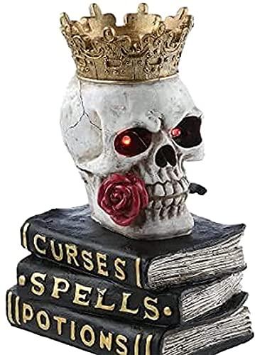 WMKJDS - Decorazione da tavolo con teschio seduto su libri, corona horror, decorazione gotica, decorazione per Halloween e feste spaventose per la casa (1)