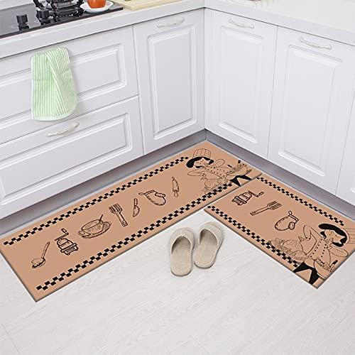 HLXX Juego de Dos Piezas de Estilo Europeo, Alfombra de Cocina, Felpudo de Entrada, hogar, Sala de Estar, alfombras de decoración, alfombras Antideslizantes para baño, A19 50x160cm