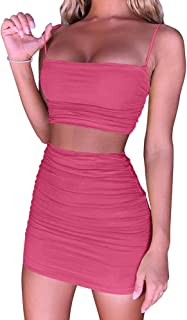 Women's Ruched Cami Crop Top Bodycon Skirt 2 Piece Outfits Dress