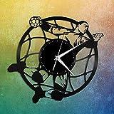 hhhjjj Horloge Murale numérique Handball Vinyle Horloge Murale Amateurs de Sport Cadeau Unique décor à la Maison Design rétro Bureau Bar Chambre décor à la Maison