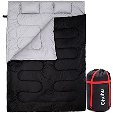 Double Sleeping Bag With 2 Pillows And A Carrying Bag, Ohuhu Waterproof Lightweight 2 Person Sleeping Adult Bag For Camping, Backpacking, Hiking