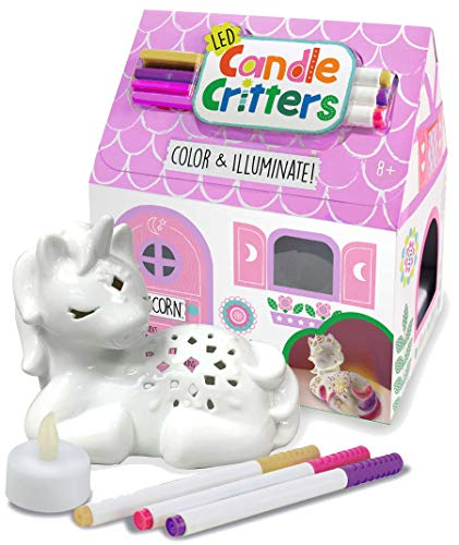 Bright Stripes LED Candle Critters Unicorn - Color & Illuminate DIY Ready to Decorate Craft Kit with 3 Ceramic Markers and Ceramic Unicorn in Cottage Shaped Box - Perfect Kids Coloring or Art Activity